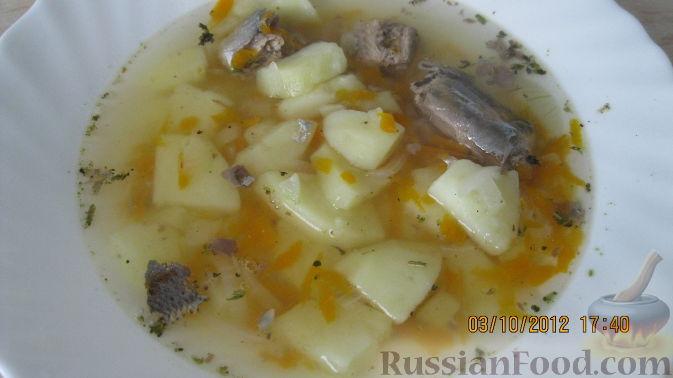 Рыбный суп из консервированной сайры