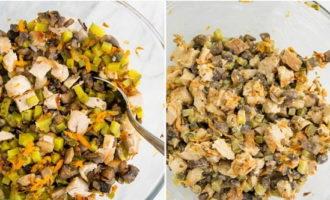Куриный салат с шампиньонами и солеными огурцами (354.7 ккал)