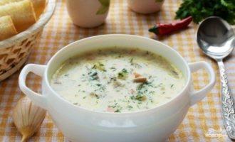 Грибной суп из вешенок с плавленым сыром